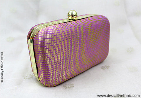 Light Pink Brocade Box Clutch