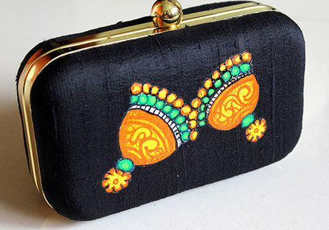 Kerala Mural Painted Black Box Clutch (small)