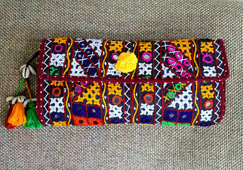 Black Vintage Kutch Embroidery Clutch (Design 4)
