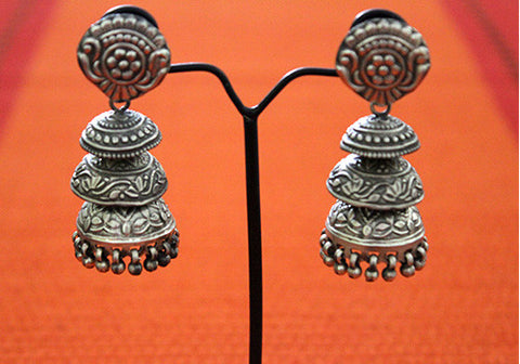 Silver Jhumkas with Ghunghroo Design 2