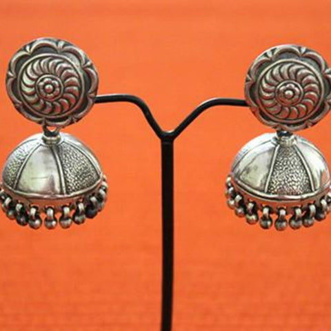 Silver Jhumkas with Ghunghroo Design 9