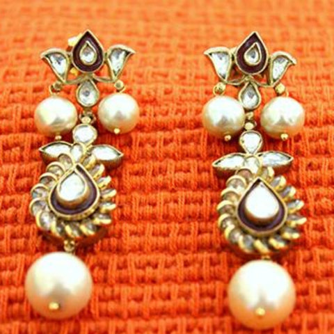 Silver Jadau Earrings Design 8