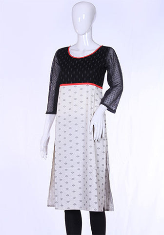Black and White Ikat Kurta Design 1