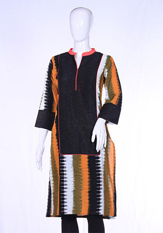 Yellow and Black Ikat Kurta