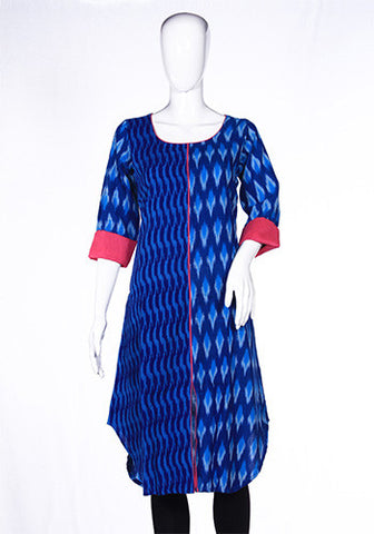 Blue and Pink Asymmetric Ikat Kurta