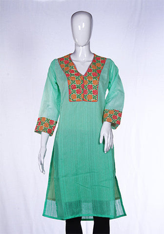 Light Green Kurta with thread work