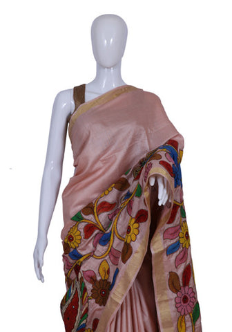 Pink Tussar Silk Saree with Applique pen Kalamkari