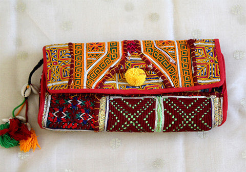 Vintage Kutch Embroidery Clutch (Design 37)