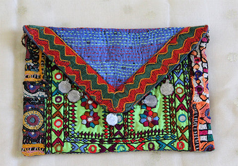 Vintage Kutch Embroidery Bag with Kantha Work (Design 2)