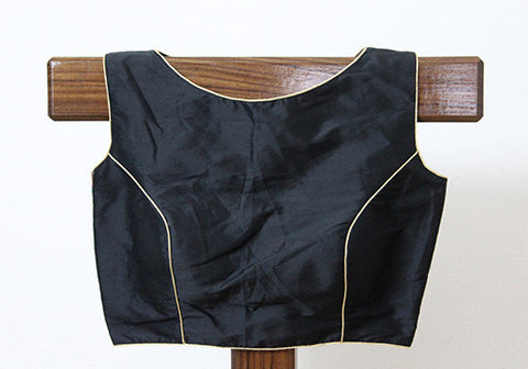 Black Sleeveless Blouse with Embroidery on the back