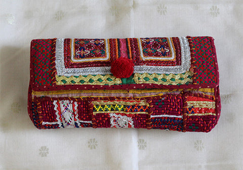 Vintage Kutch Embroidery Clutch (Design 40)