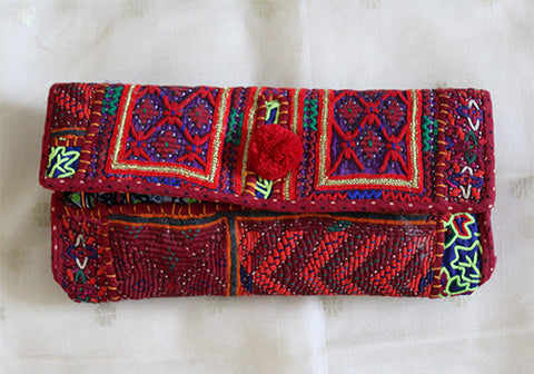 Vintage Kutch Embroidery Clutch (Design 41)