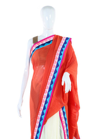 White and Red Georgette saree