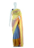 Grey, Yellow and Orange Georgette saree