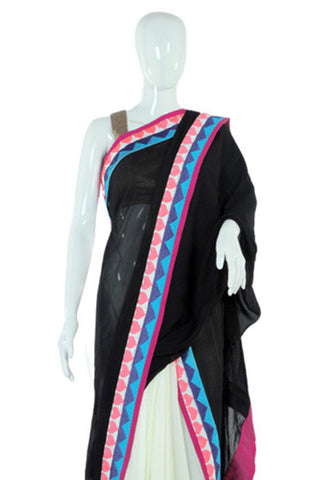 White and Black Georgette Saree