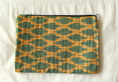 Yellow Ikat Multi function Travel Cosmetic bag  design 2(Large)