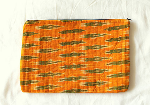 Yellow Ikat Multi function Travel Cosmetic bag (Large)