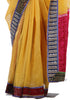 Yellow Kota Saree with Blockprinted Border