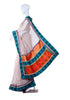 White Kota Saree with Blue Blockprinted Border and Kutch work
