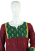 Maroon Cotton Kurta with Ikat Yoke