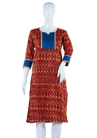 Brown Ikat Kurta with Blue Yoke