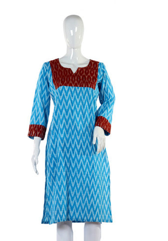 Turquoise Blue Ikat Kurta with Brown Yoke