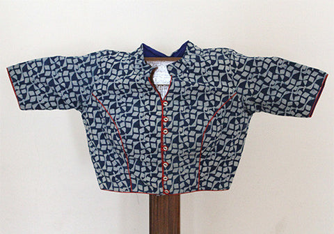 Blue Blockprinted Blouse Design 2