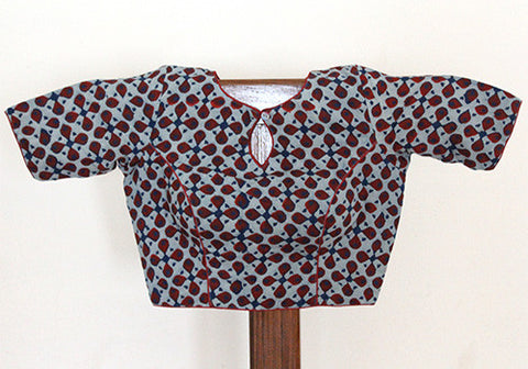 Blue Blockprinted Blouse Design 3