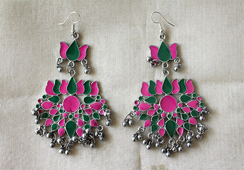 Tribal Afghan Lotus Earrings Design 72