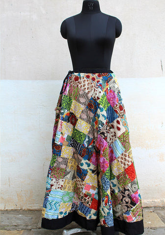 Upcycled Long Skirt with Black Border