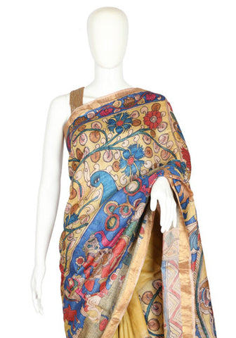 Tussar Silk Pen Kalamkari Saree Design 7