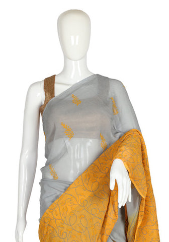 Grey and Yellow Blockprinted Pure Chiffon Saree