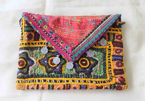 Vintage Kutch Embroidery Bag with Kantha Work (Design 25)