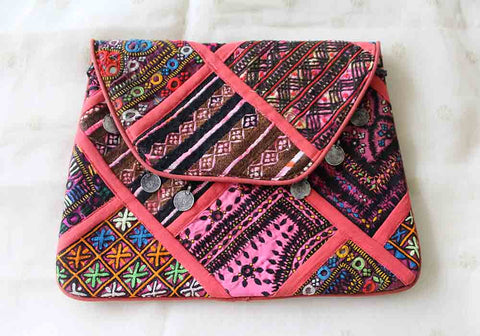 Vintage Kutch Embroidery Multipurpose Bag with Coins (Design 7)