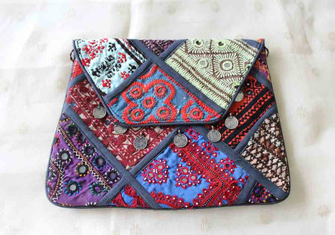 Vintage Kutch Embroidery Multipurpose Bag with Coins (Design 9)