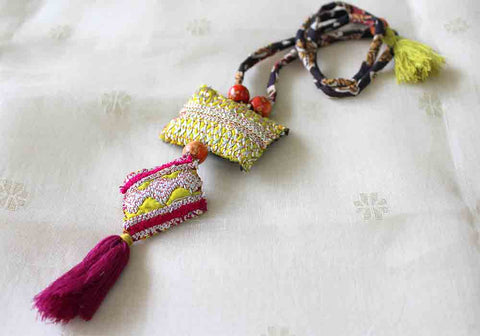 Upcycled Vintage Kutch Work Necklace Design 64