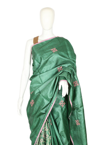 Green Tussar Silk Saree with Block Print and Kutch Work