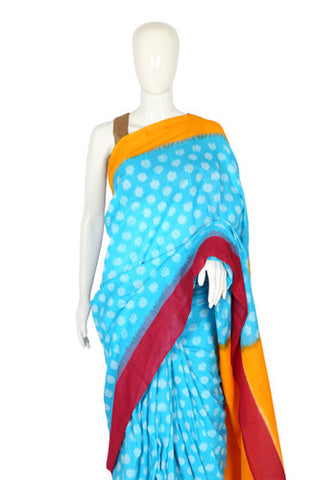 Blue, Pink and Yellow Ikat Cotton Saree