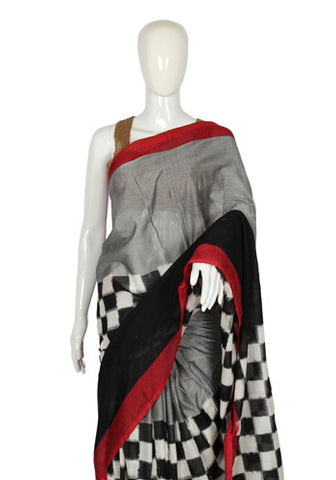 Black Checks Ikat Cotton Saree
