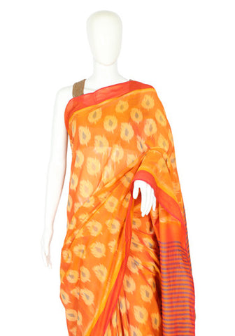 Yellow Ikat Cotton Saree