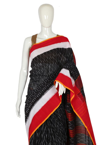Black, White and Red Ikat Cotton Saree Design 2
