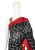 Black and Maroon Ikat Cotton Saree
