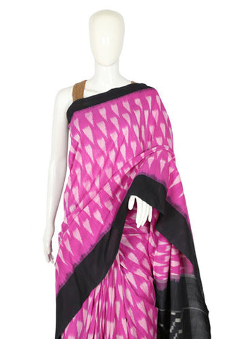 Purple and Black Ikat Cotton Saree