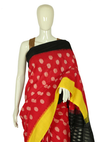Pink, Black and Yellow Cotton Saree