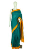 Dark Green and Yellow Cotton Saree
