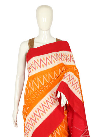 Yellow, White and Red Ikat Cotton Saree