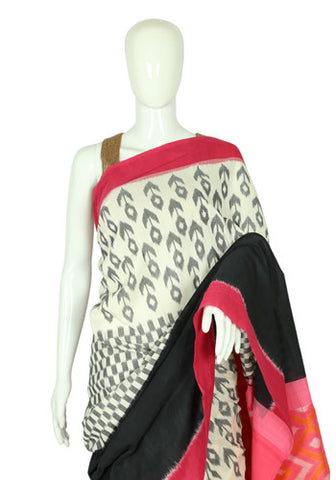 White, Black and Red Ikat Cotton Saree