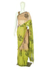 Light Green and Brown Block Printed Pure Chiffon Saree