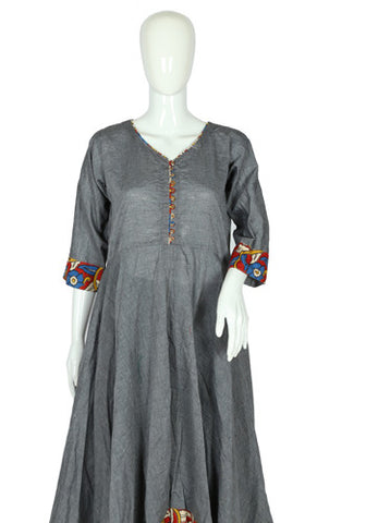 Grey Cotton Anarkali with Kalamkari Border