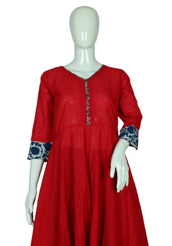 Red Cotton Anarkali with Blue Blockprinted Border